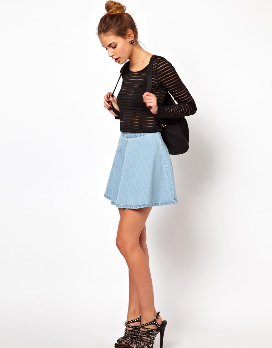 Glamorous Circle Skirt in Light Wash Denim in Blue | Lyst