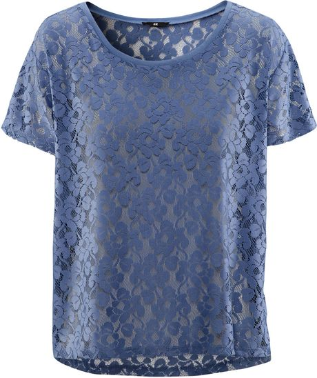 H&m Top in Blue (denim) - Lyst
