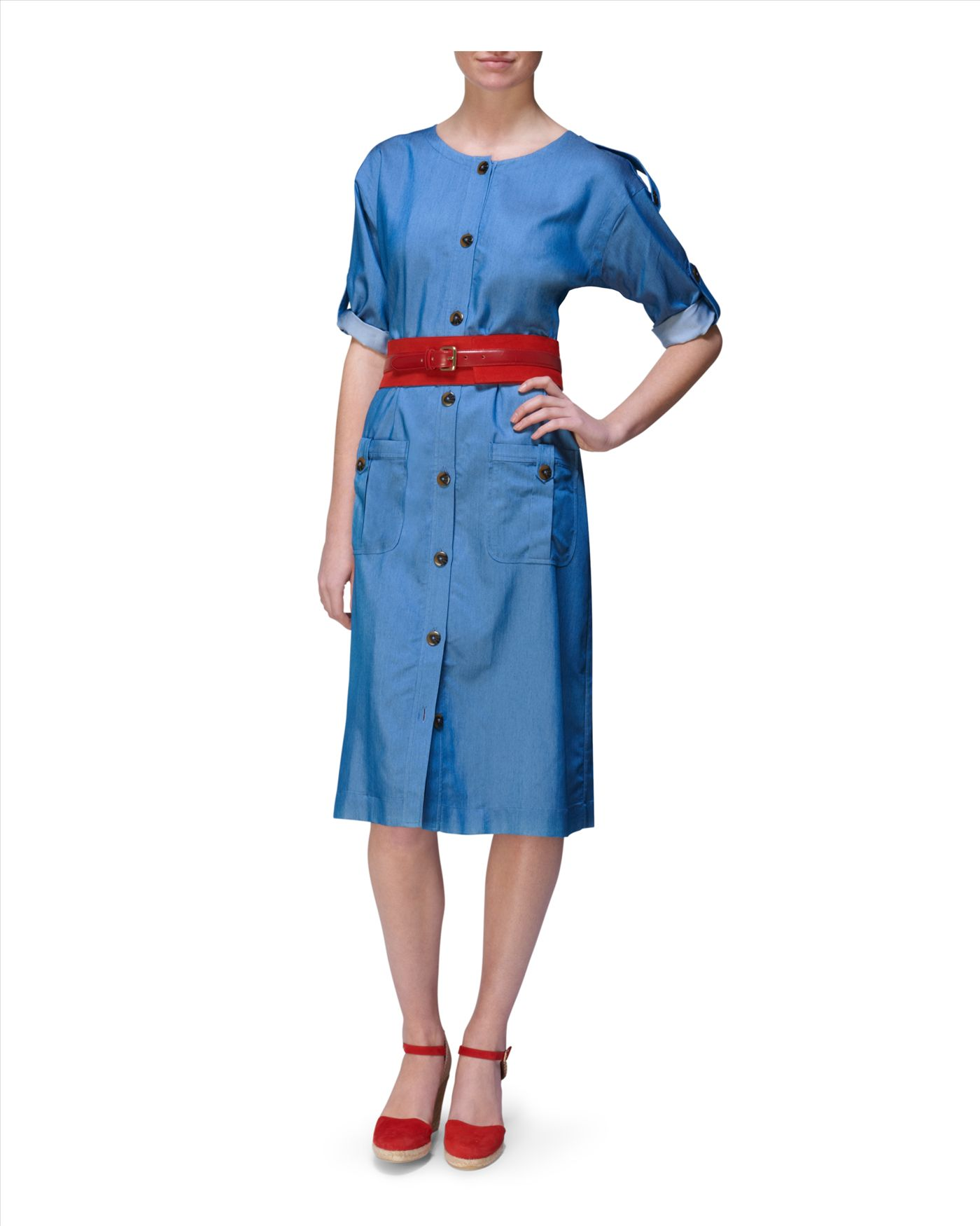 Jaeger belted shirt dress in blue lyst for Belted chambray shirt dress
