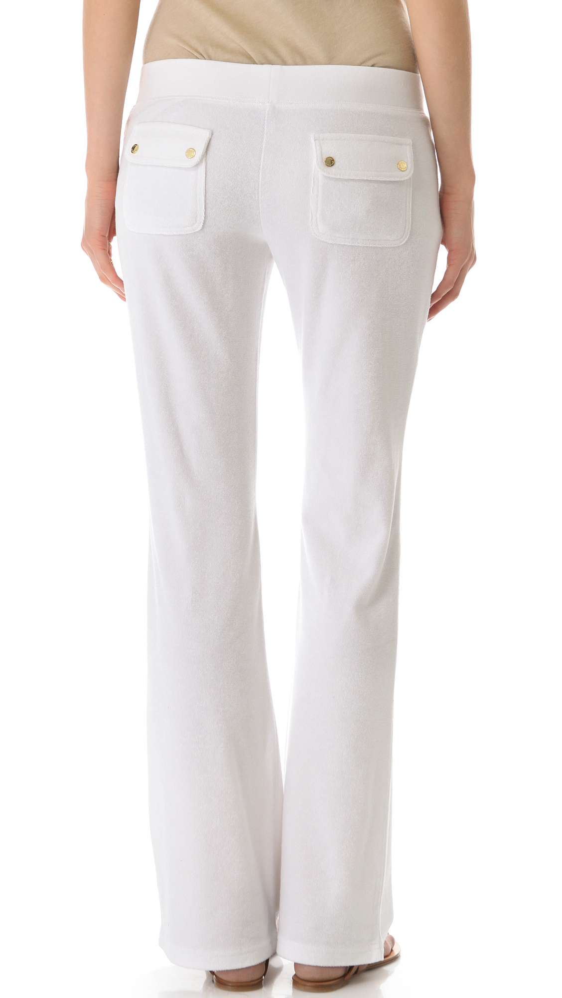 Lyst - Juicy Couture Boot Cut Pants with Snap Pockets in White 73c3d982f5b2