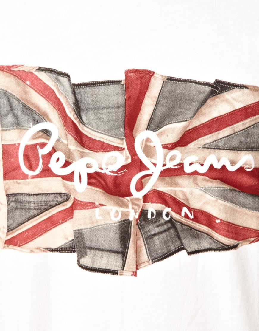 Lyst Pepe Jeans T Shirt Flag Logo In White For Men