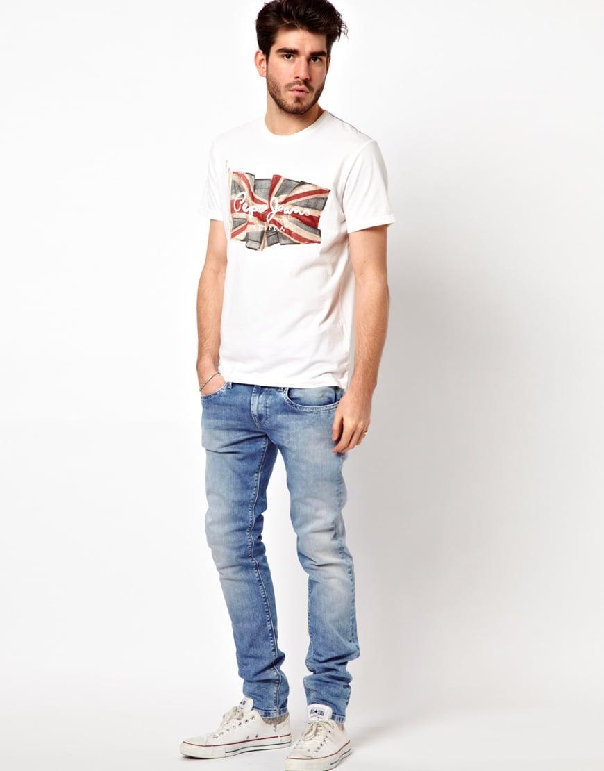 Lyst - Pepe Jeans T-shirt Flag Logo in White for Men
