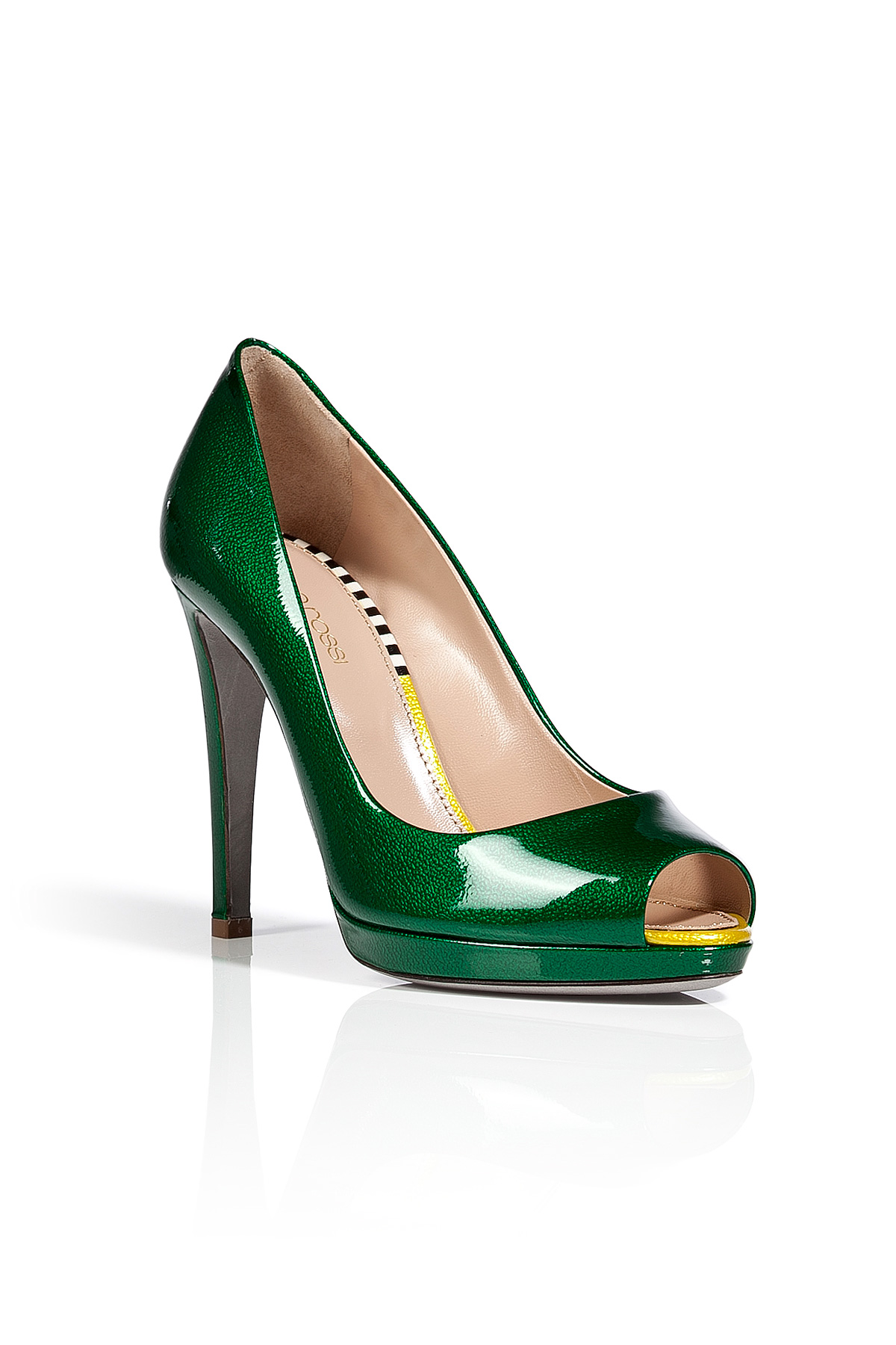Sergio Rossi Grass Green Patent Leather Peep Toe Pumps In