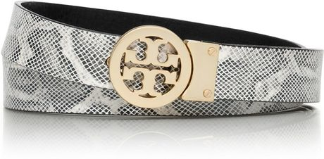 Tory Burch Rotating Logo Exotic Belt in Black (natural/black)