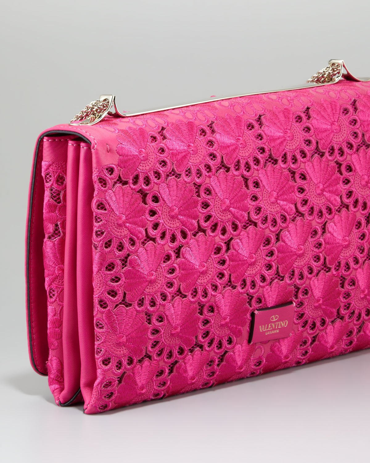 Valentino Floral Lace Cutout Shoulder Bag in Purple (FUCHSIA) | Lyst