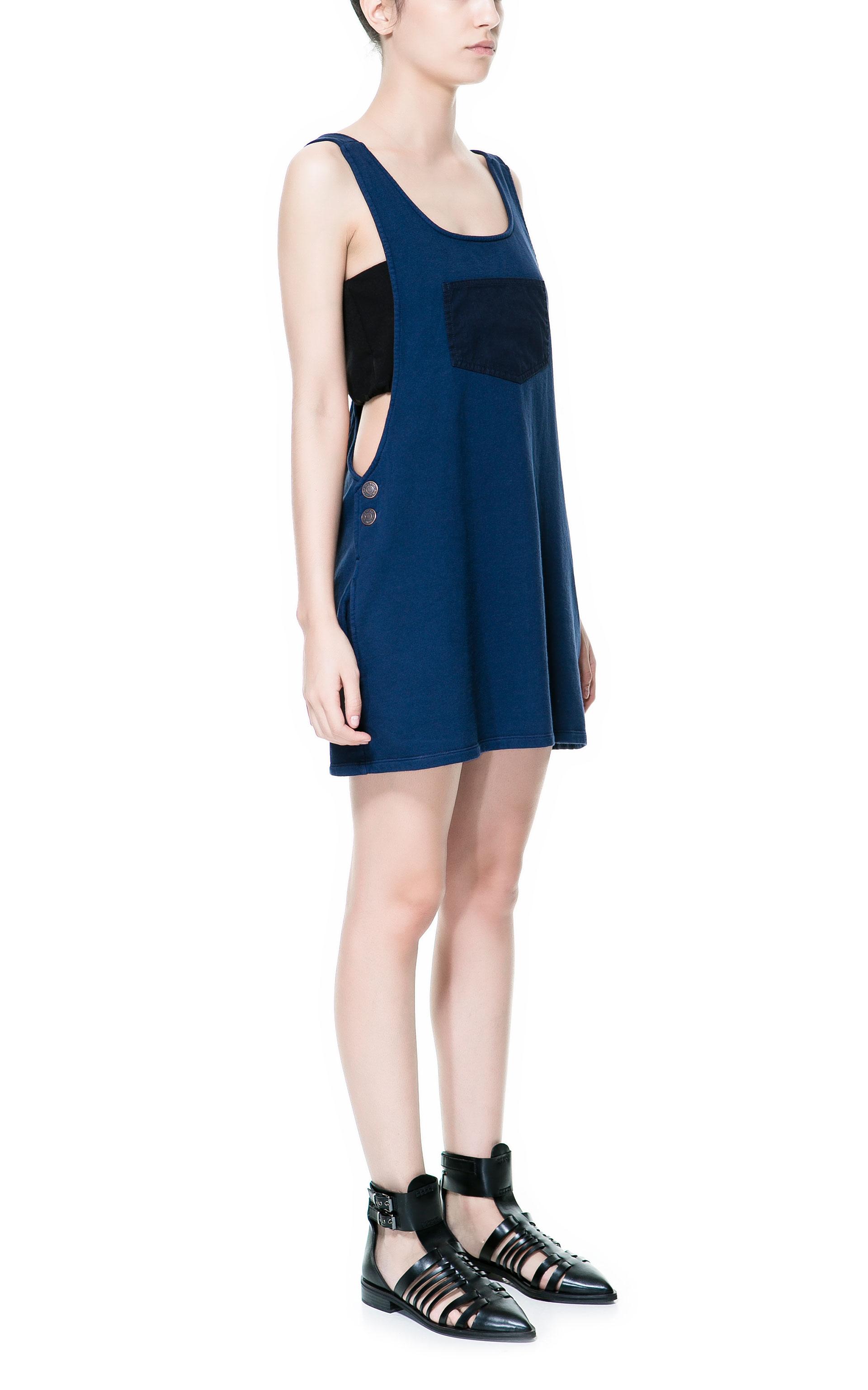 zara dungaree dress in blue lyst. Black Bedroom Furniture Sets. Home Design Ideas