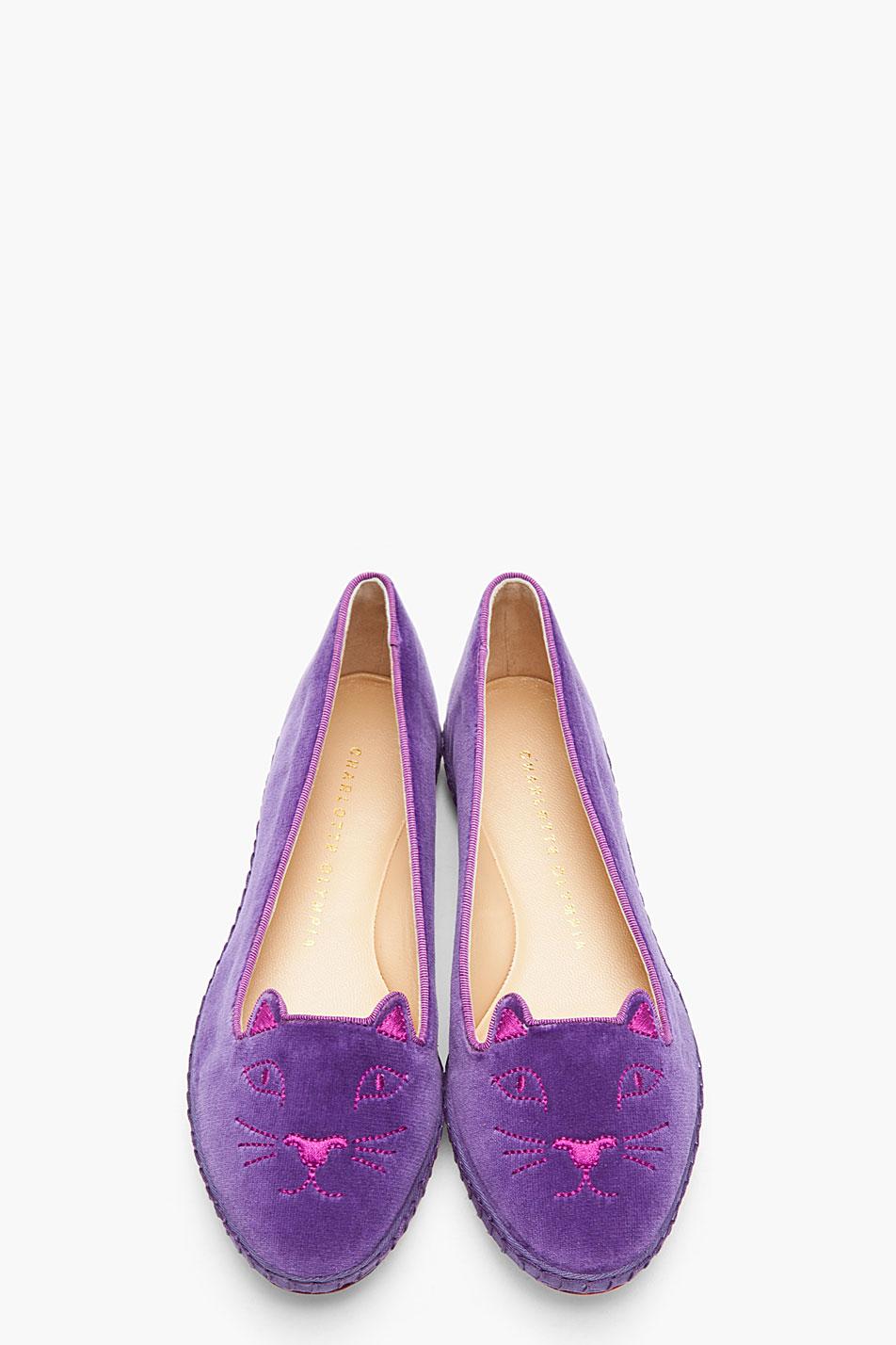 Charlotte Olympia Velvet Espadrille Flats In Purple Lyst