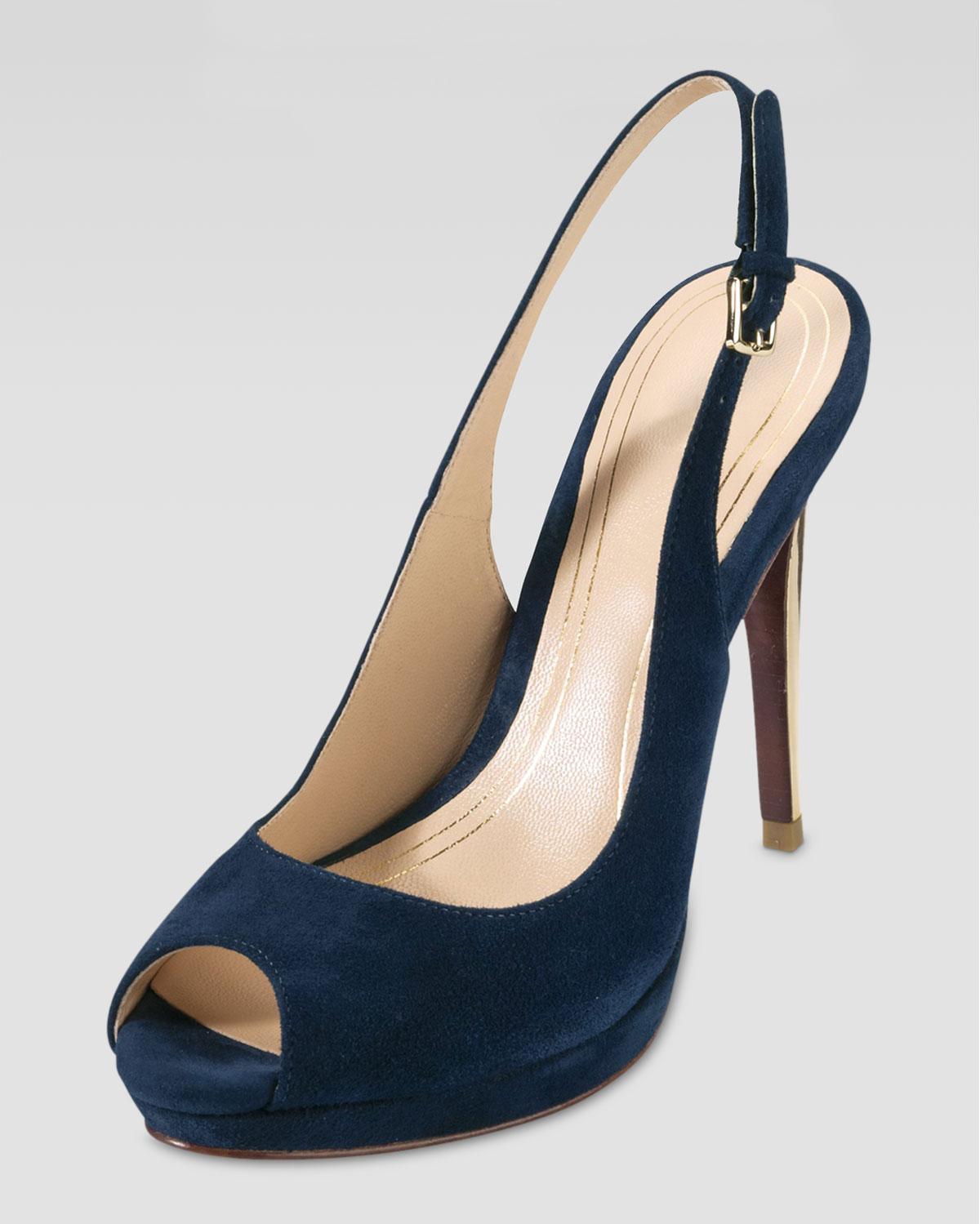 Blue Suede Platform Shoes