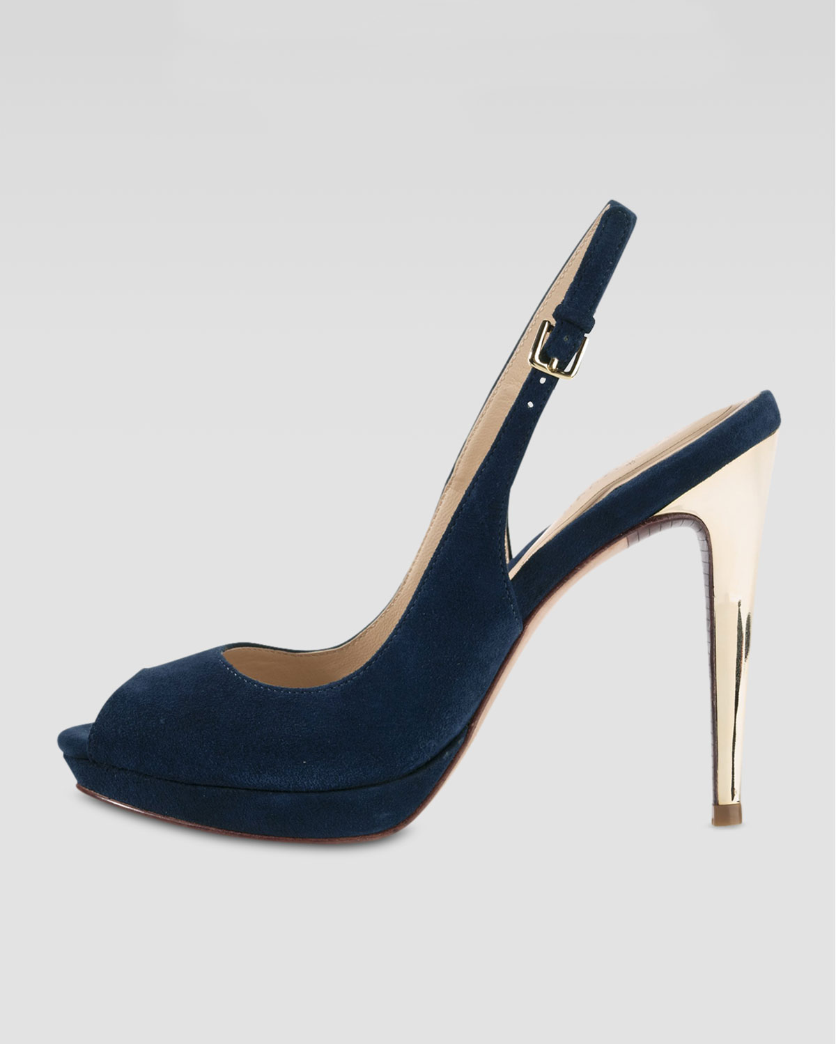125e77e2be35 Lyst - Cole Haan Chelsea Peeptoe Slingback Pump in Blue