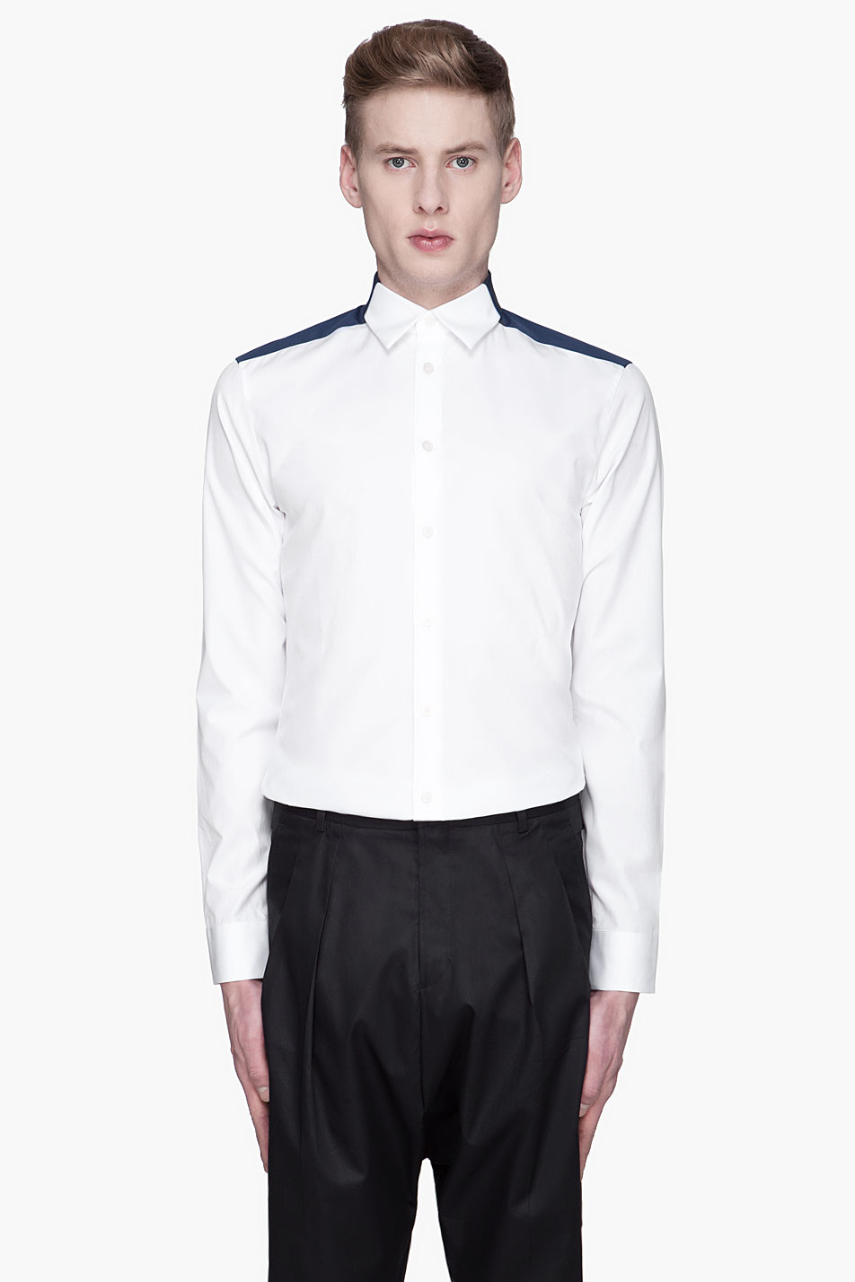 Givenchy Contrast Dress Shirt In White For Men Lyst