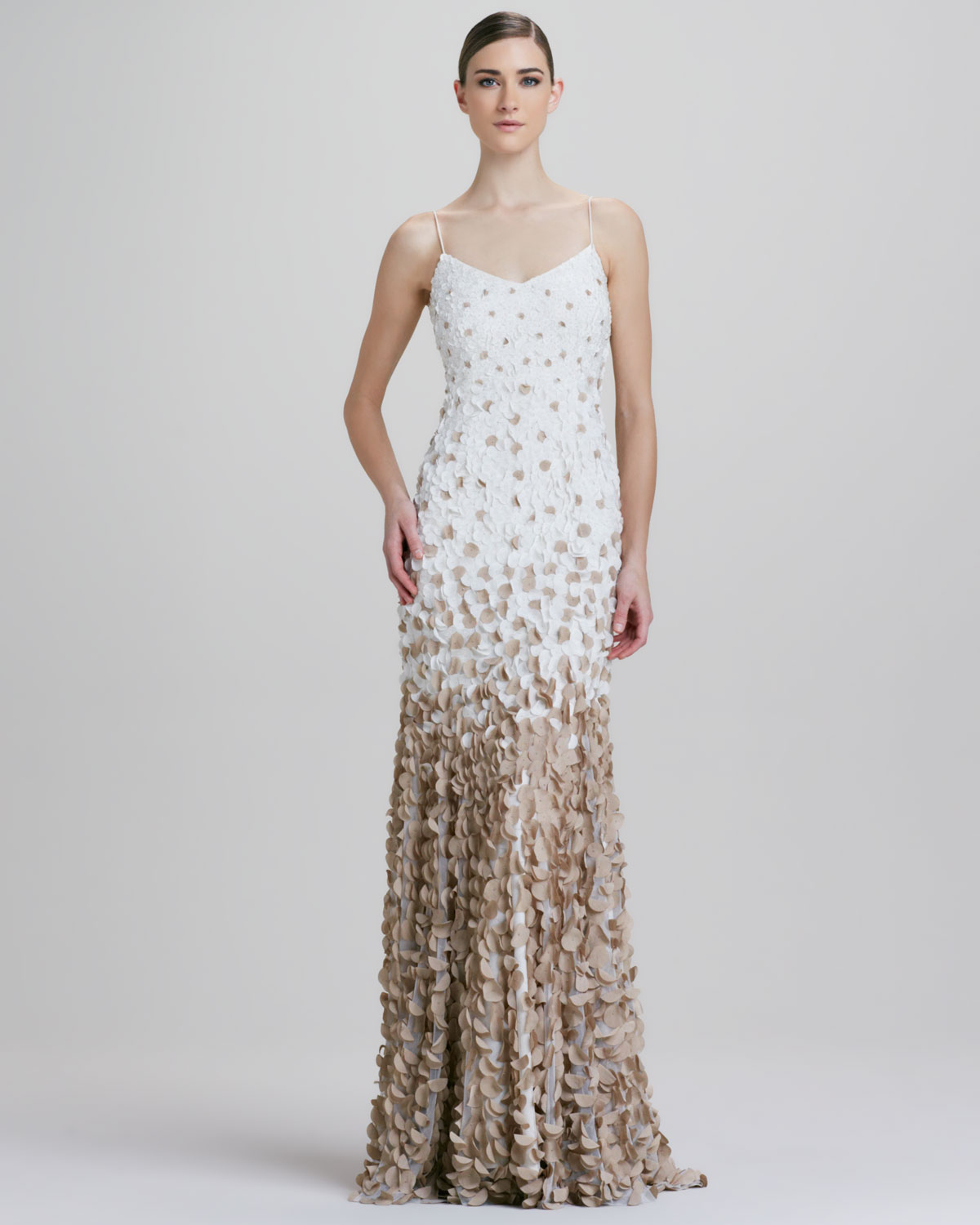 Lyst - Theia Ombre Petal Slip Gown in White