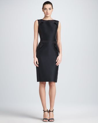 Carolina Herrera Sleeveless Mikado Sheath Dress - Lyst
