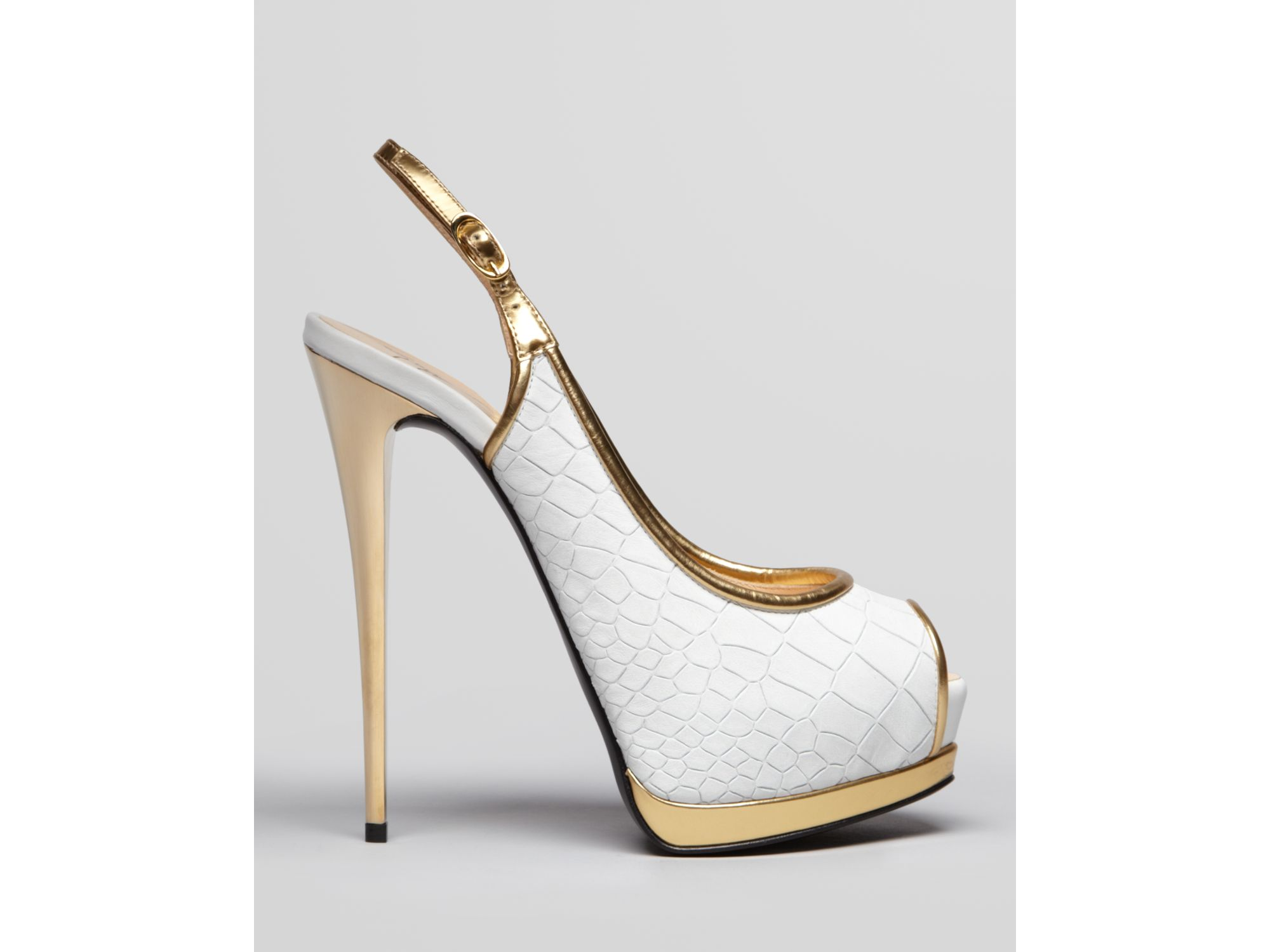 Giuseppe zanotti Peep Toe Platform Pumps Sharon High Heel in White ...