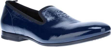 Alexander Mcqueen Skull Detail Slipper in Blue for Men