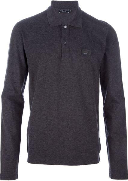 Dolce & Gabbana Long Sleeve Polo Shirt in Gray for Men (grey)