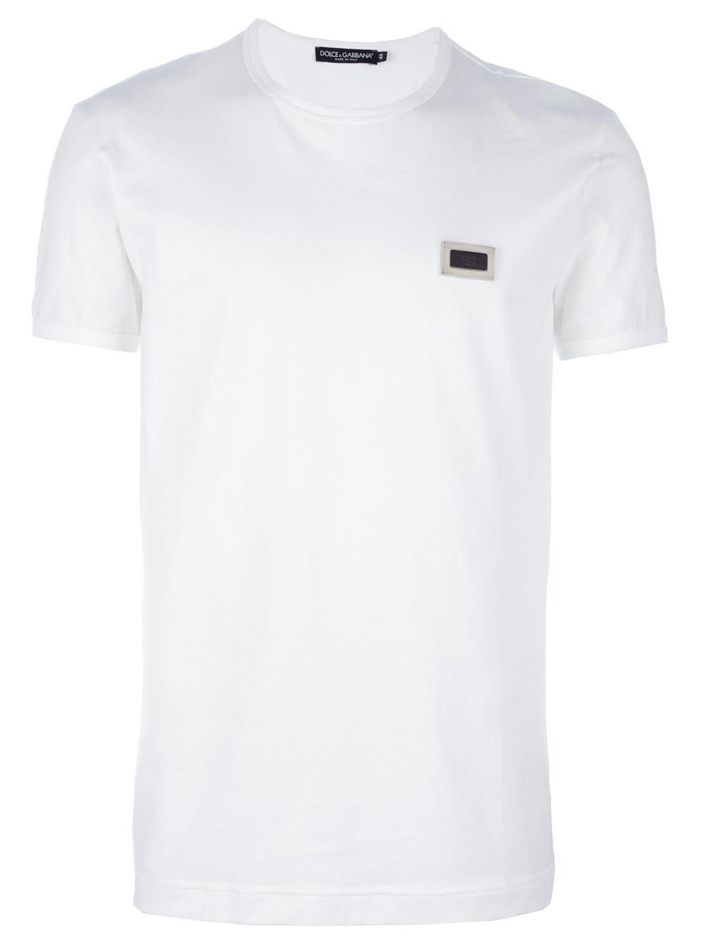 dolce gabbana logo patch t shirt in white for men lyst. Black Bedroom Furniture Sets. Home Design Ideas