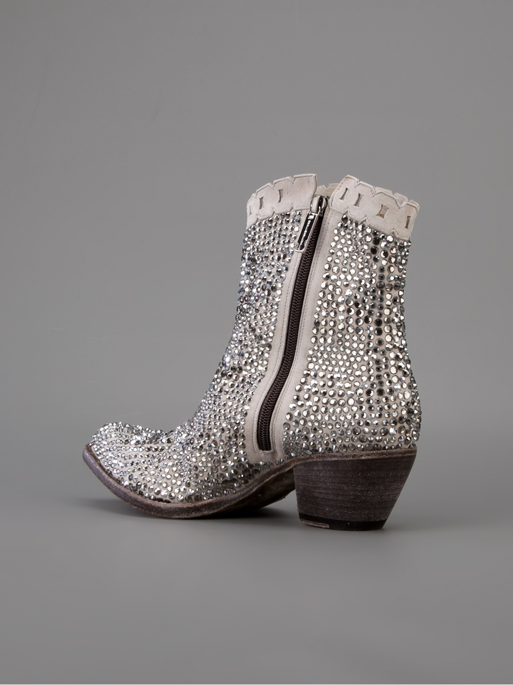 Giancarlo Paoli Embellished Ankle Boot in Grey (Grey)