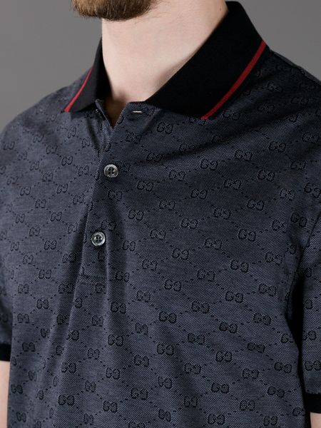 Pebble Beach Polo >> Gucci Printed Polo Shirt in Black for Men | Lyst