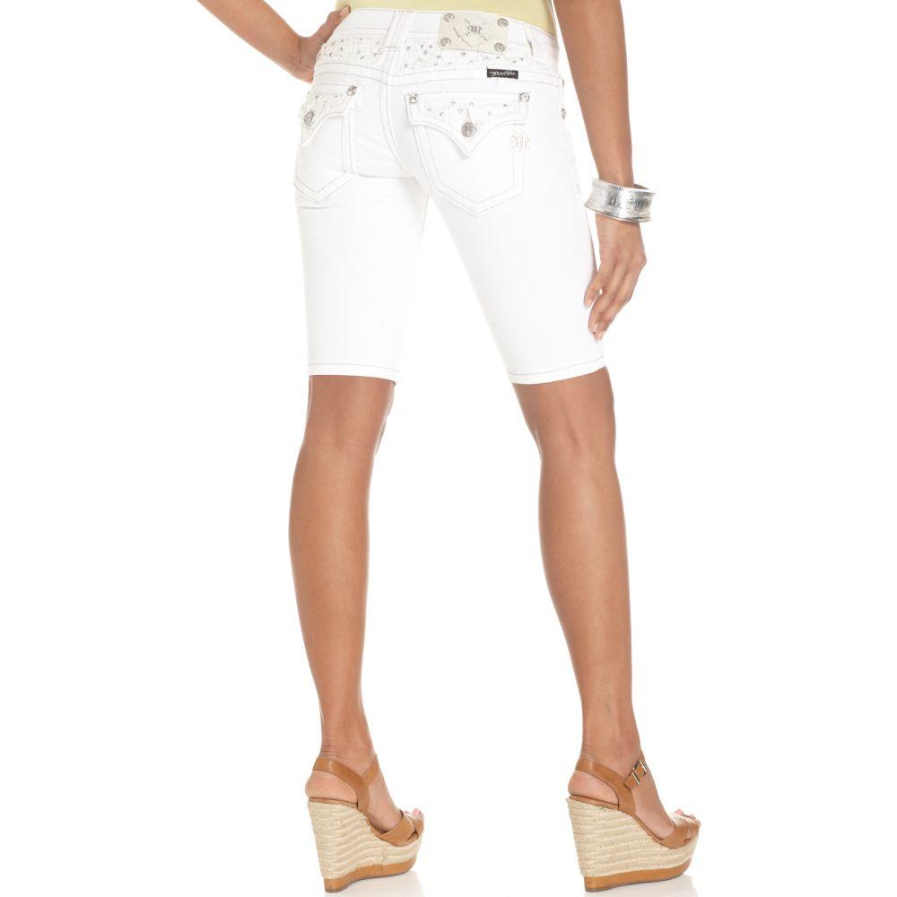 Lyst Miss Me Jeans Denim Bermuda Shorts White Wash In White