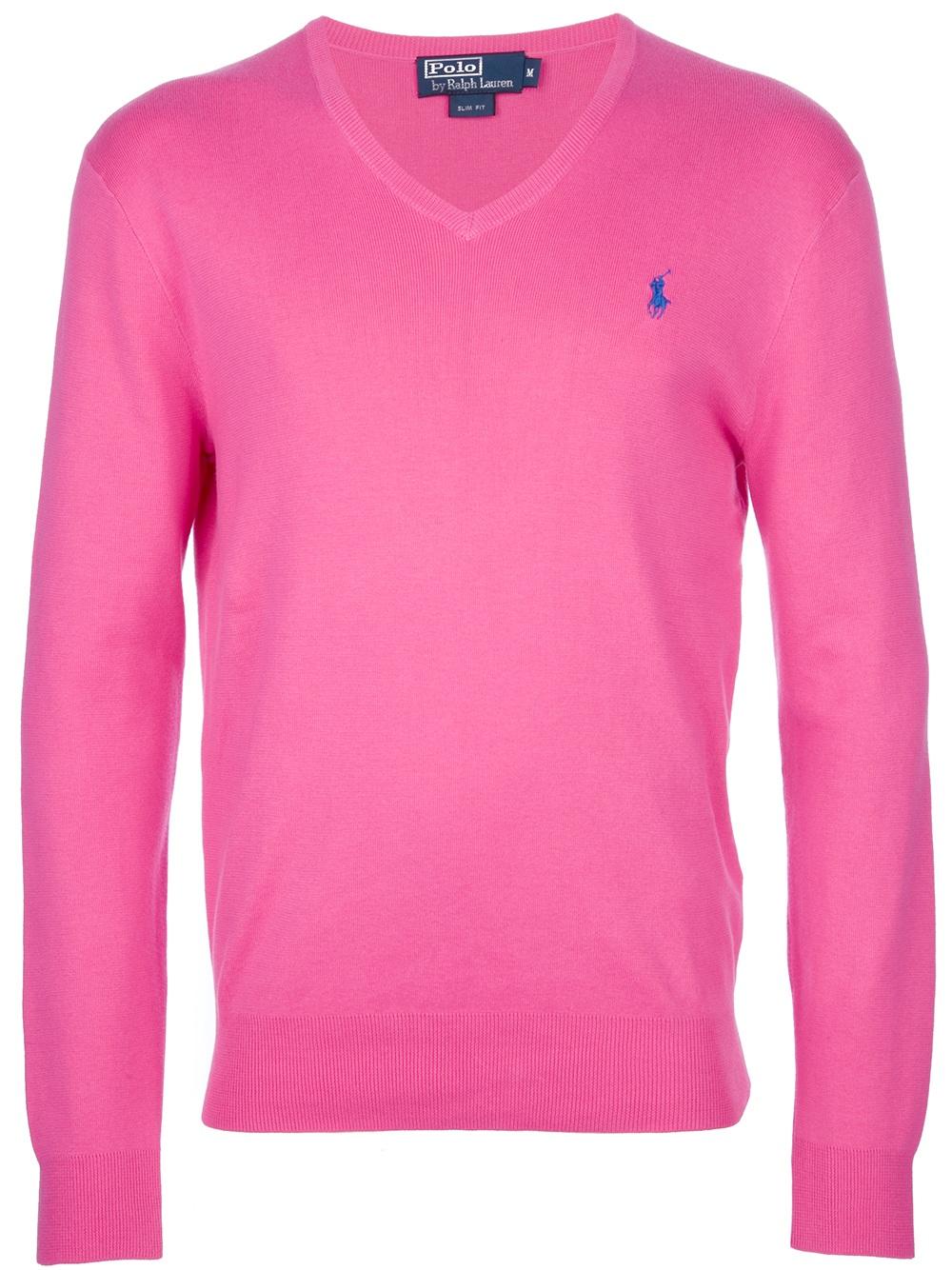 polo ralph lauren v neck sweater in pink for men lyst. Black Bedroom Furniture Sets. Home Design Ideas