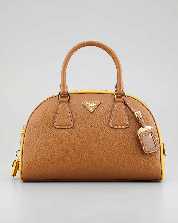 Prada Saffiano Lux Bicolor Bowler Bag in Yellow (multi colors)   Lyst