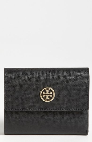 Tory Burch Robinson Saffiano Leather French Wallet in Black (start of color list black) - Lyst