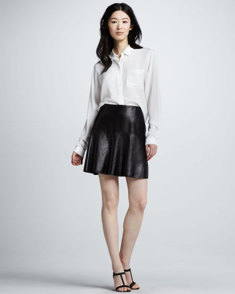 vince flared leather skirt in black lyst