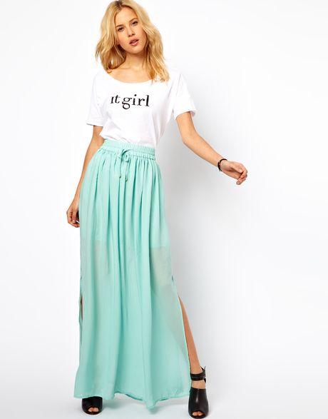 mango maxi skirt in green mint lyst