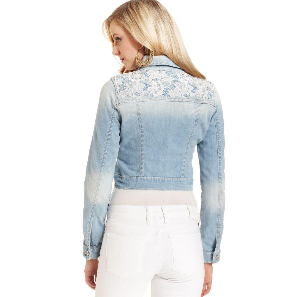 Miss Me Jacket Denim Lace Cropped Light Blue Wash In Blue