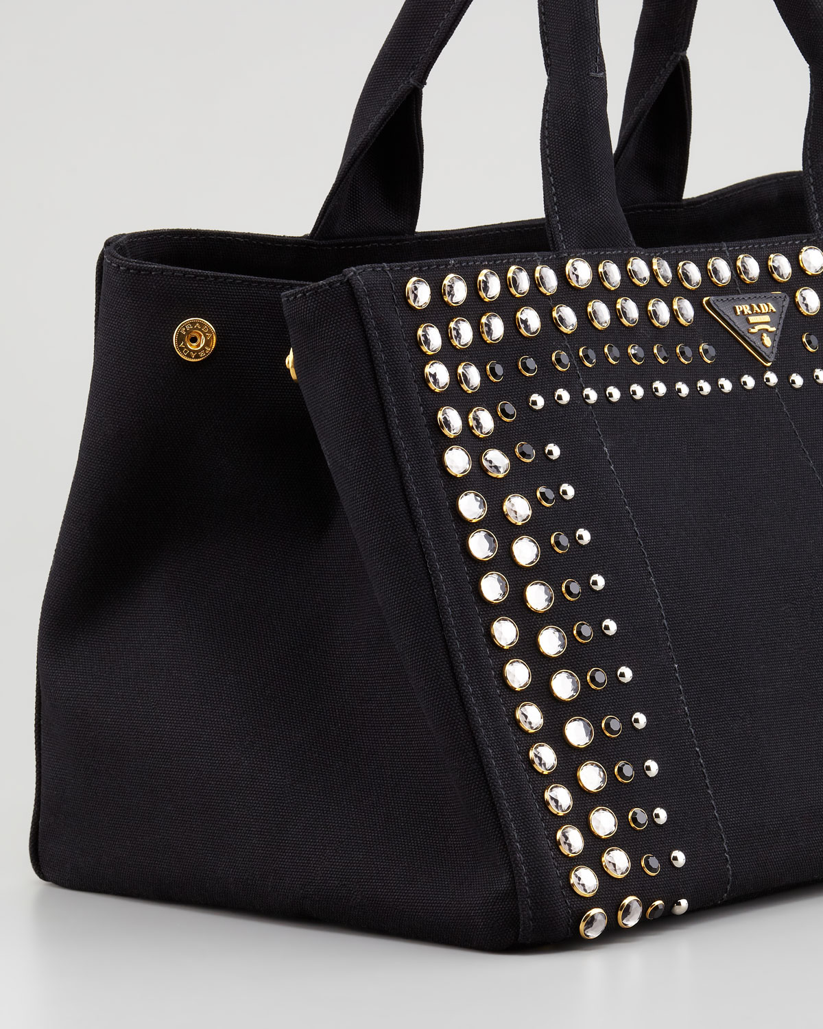 Prada Studded Canvas Gardeners Tote Bag in Black | Lyst