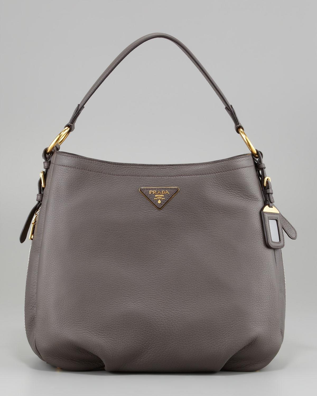 c2b5a23117 Lyst - Prada Cervo Hobo Bag in Gray