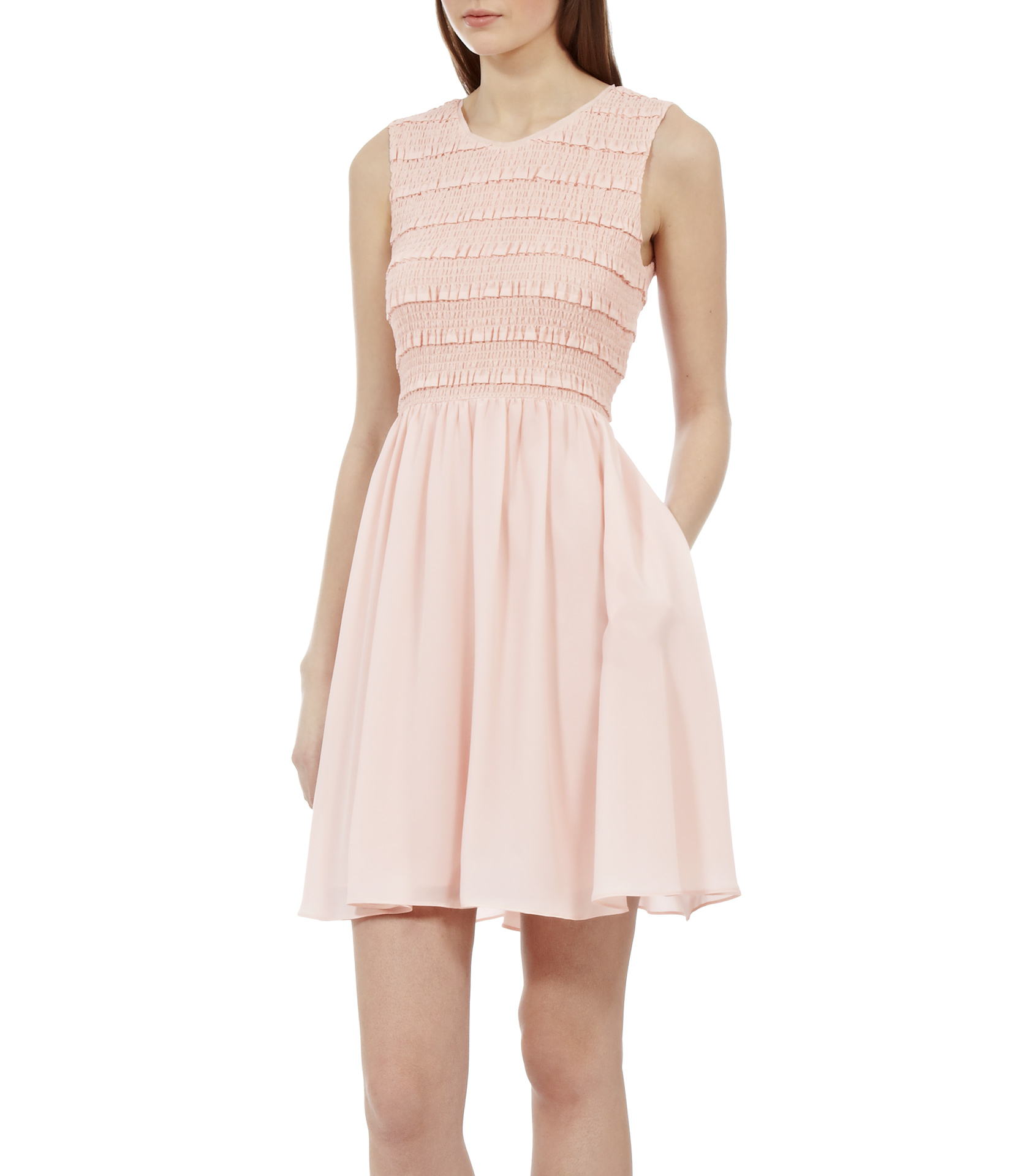 Reiss Smocking Detail Fit And Flare Dress In Soft Pink