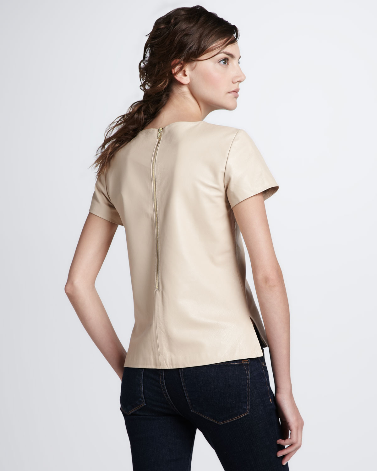 Trina Turk Maricruz Leather Tee In Natural  Lyst-2273
