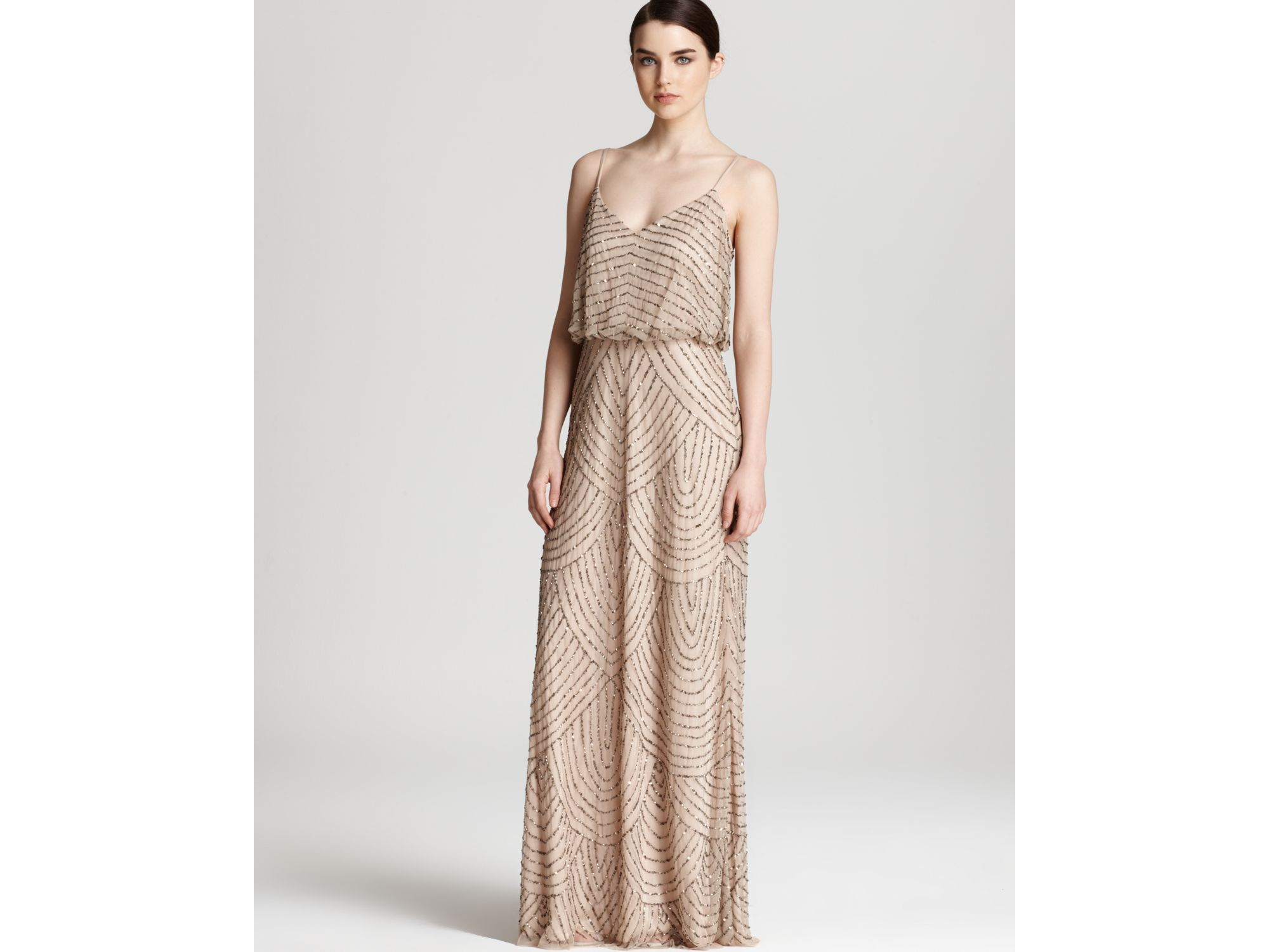 Lyst - Adrianna Papell Beaded Dress Long Blouson in Pink