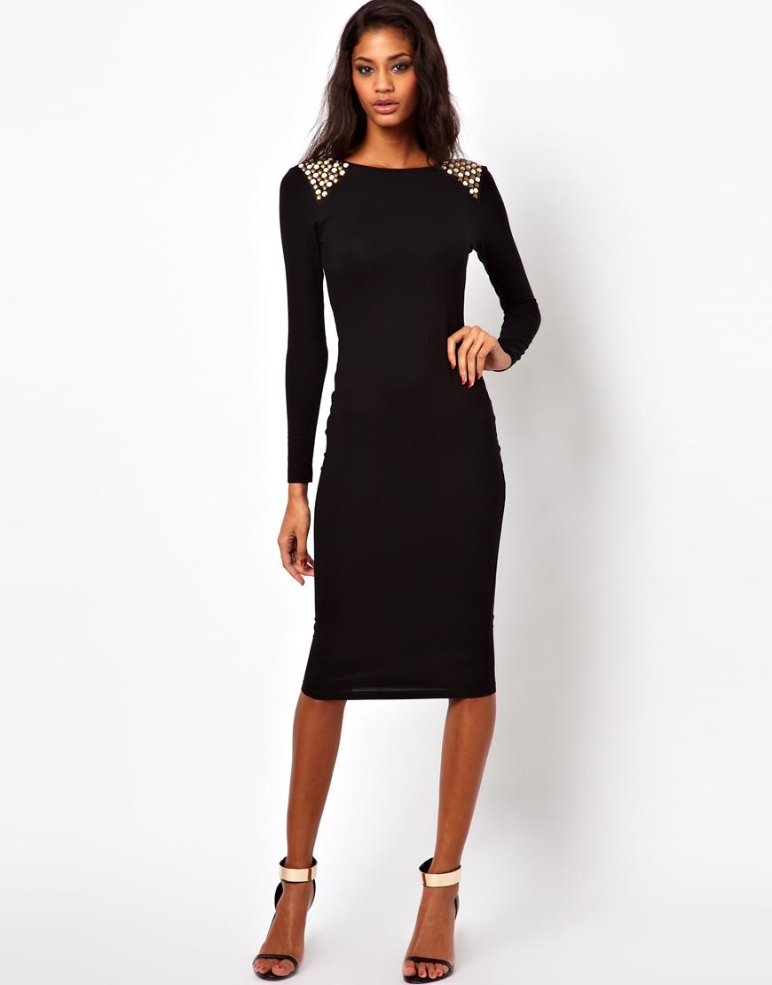 Asos Embellished Shoulder Dress In Black Lyst