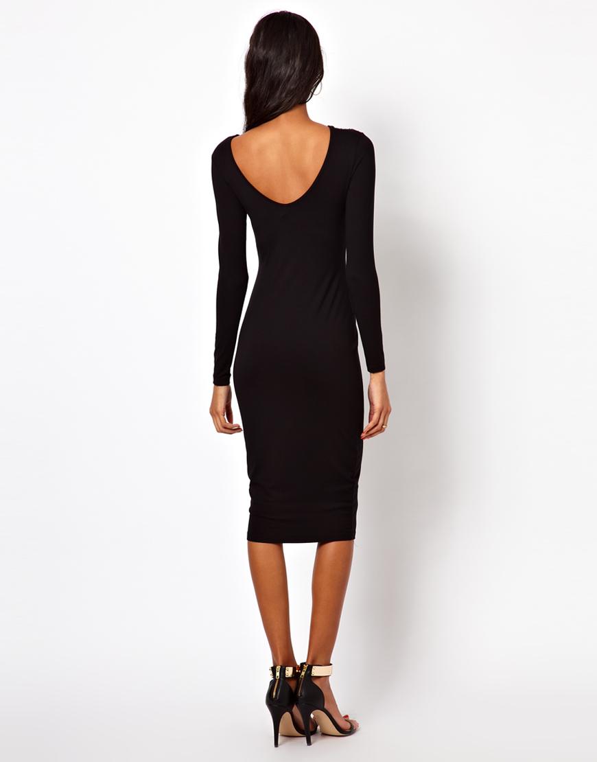 Lyst Asos Embellished Shoulder Dress In Black