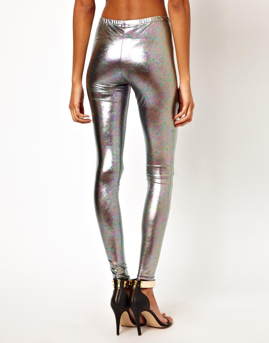 Asos Leggings In Marble Hologram Effect In Silver