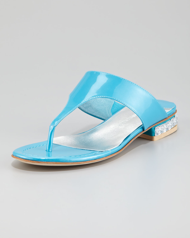 Lyst Donald J Pliner Connie Jewel Heel Thong Sandal