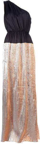 Maison Rabih Kayrouz Full Length Bi-Colour Dress in Gold (copper)
