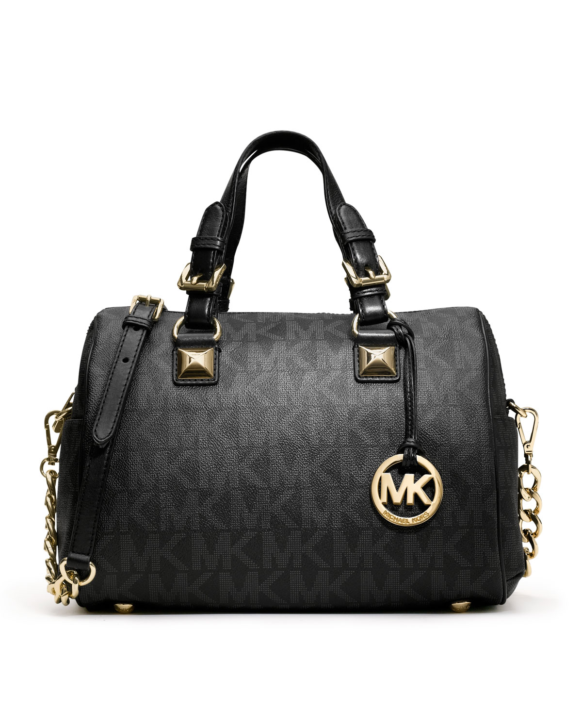 michael michael kors medium grayson logo satchel in black lyst. Black Bedroom Furniture Sets. Home Design Ideas