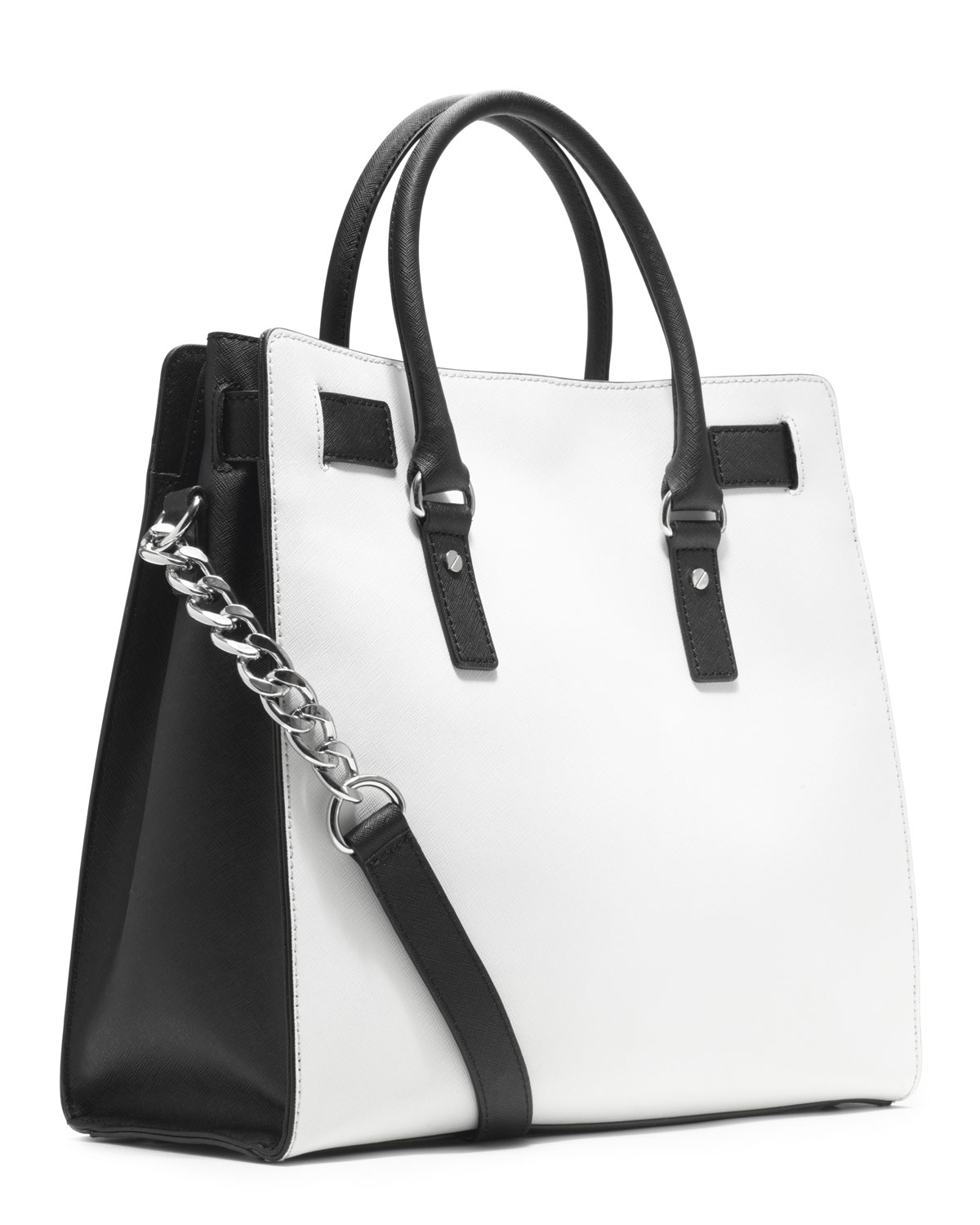 ... black and white wheretoget 44a25 cf51b  clearance lyst michael kors  michael large hamilton saffiano two tone tote in c190e 936bd e0f160daf7c06