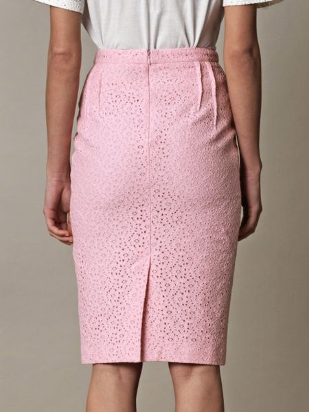 n 176 21 lace pencil skirt in pink lyst