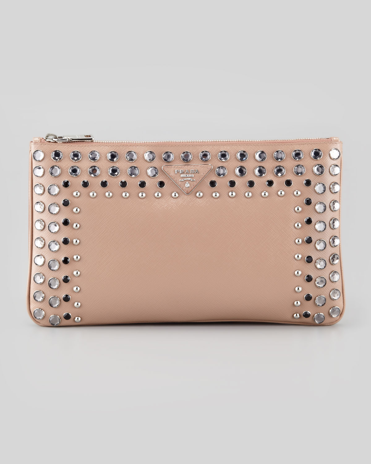 prada handbags sale usa - Prada Saffiano Vernice Clutch Bag in Pink (light pink/clear) | Lyst