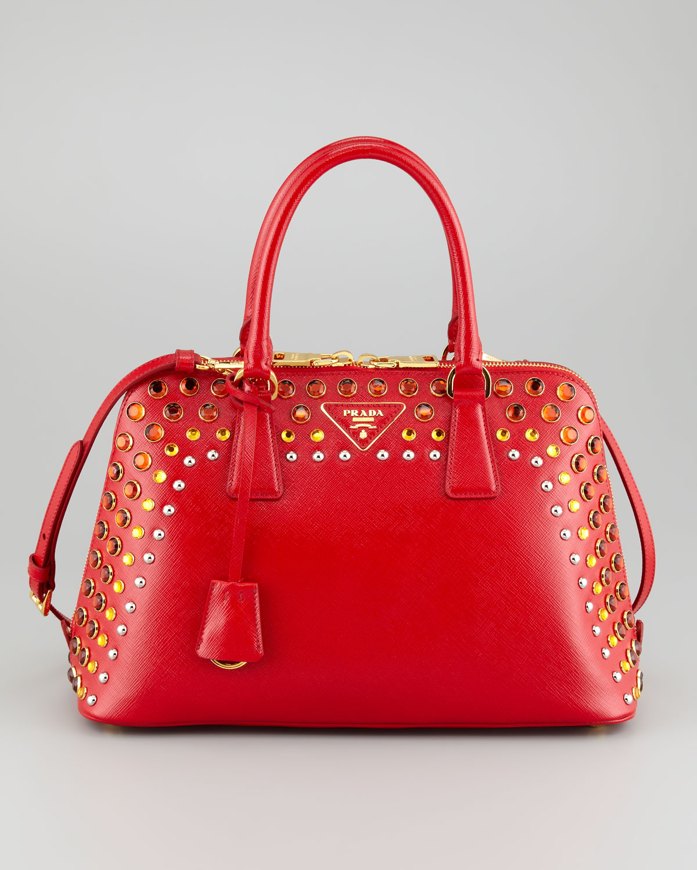... low price lyst prada saffiano crystalstudded promenade bag in red cd78f  953ef 2c96560233a6e