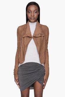 Rick Owens Camel Brown Textured Leather Naska Biker Jacket - Lyst