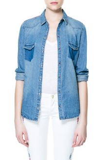 Zara Denim Shirt with Embroidered Yoke - Lyst