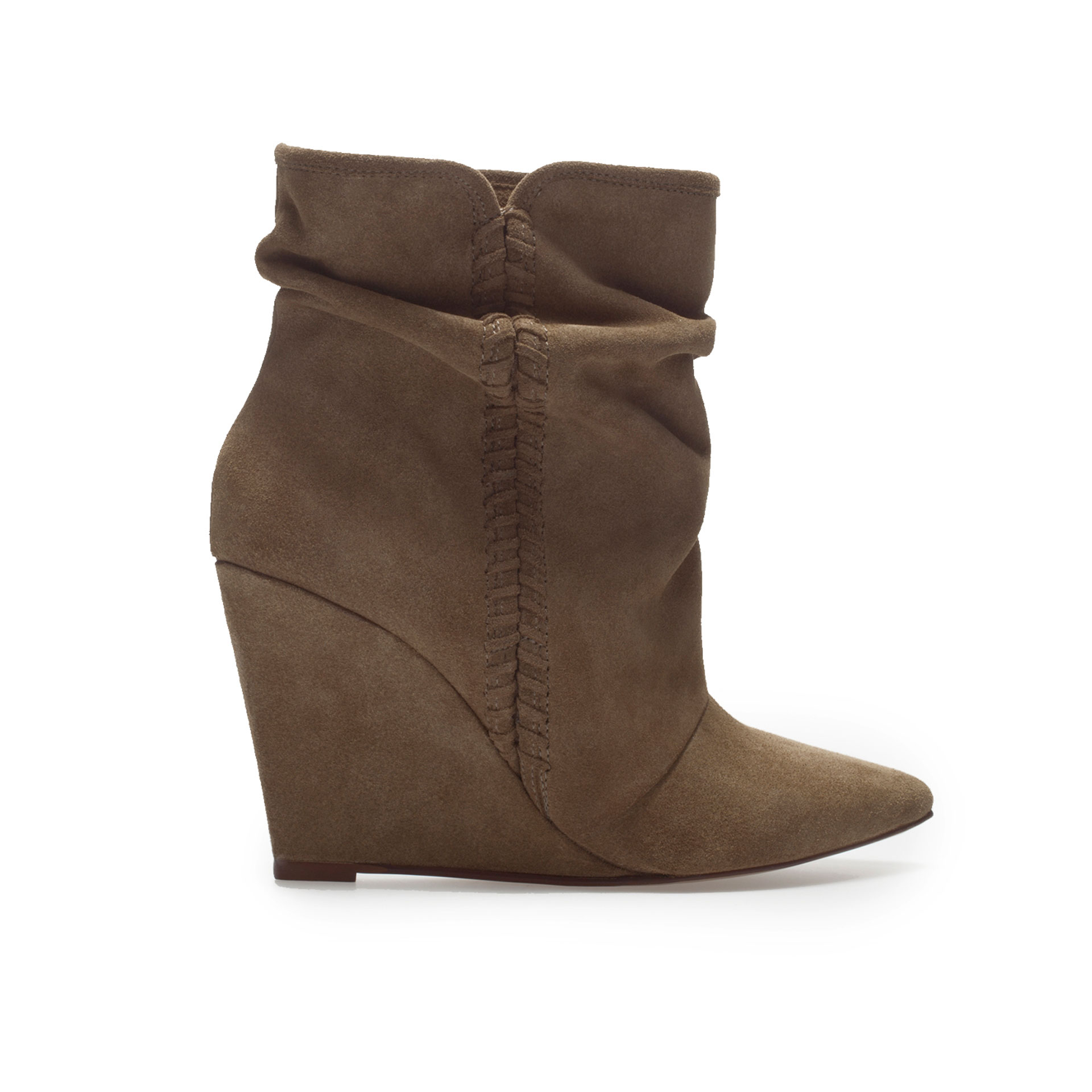 zara suede wedge ankle boot in brown khaki lyst