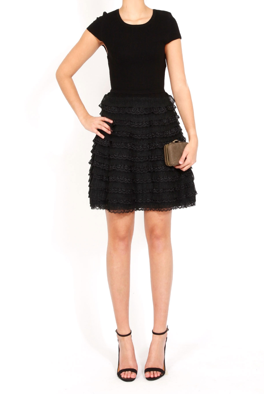 Alice + olivia Colette Ruffle Skirt Dress in Black | Lyst