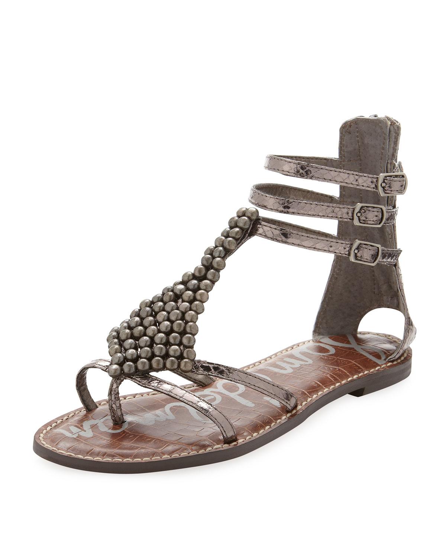 Sam Edelman Gladiator Sandal In Gray Pewter Lyst