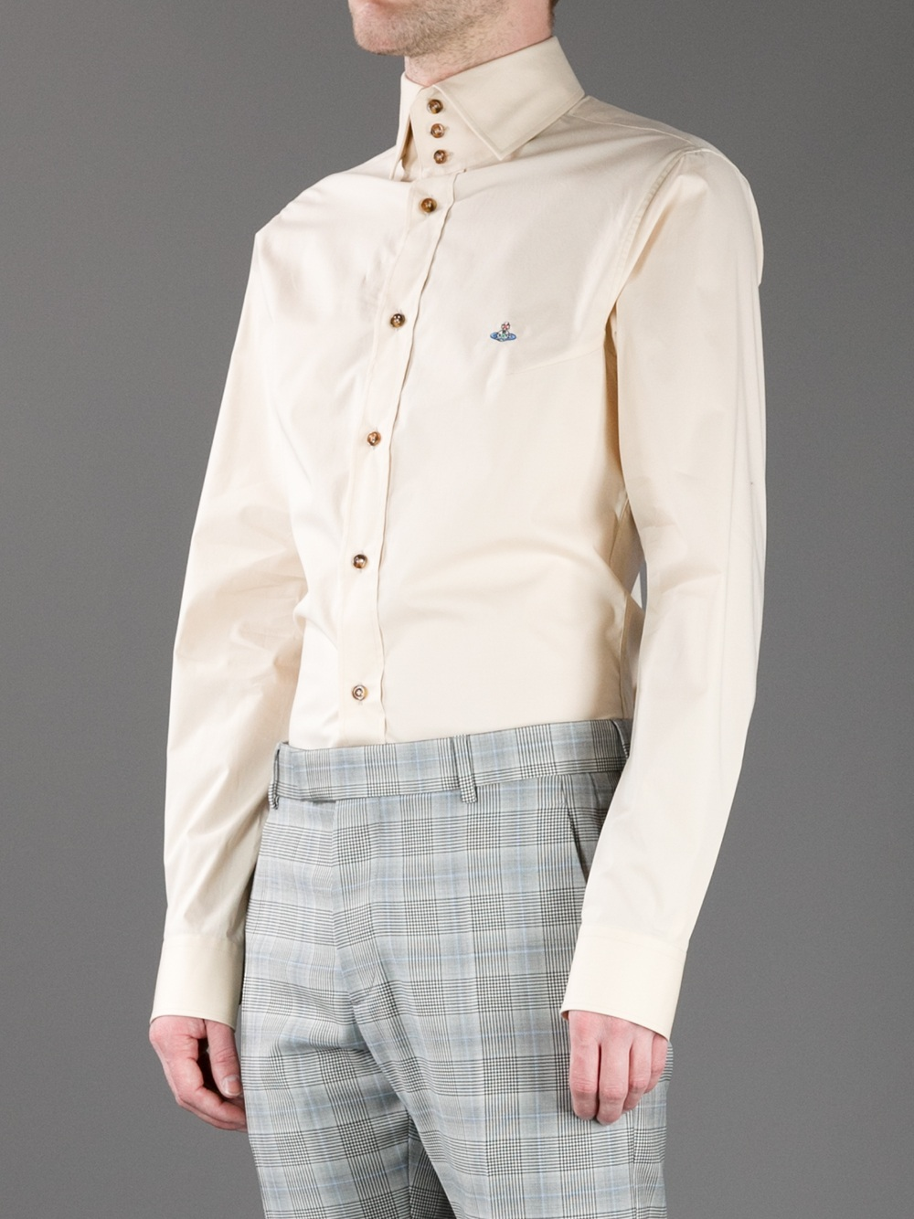Vivienne westwood three button collar shirt in beige for for Three button collar shirts